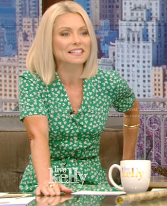 Kelly's green floral v-neck dress on Live With Kelly