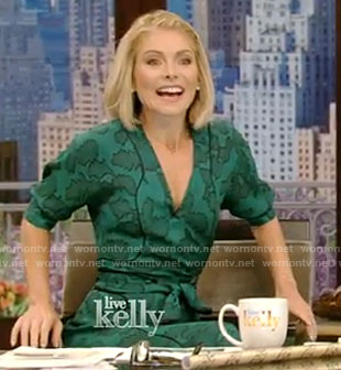 Kelly's green wrap dress on Live With Kelly