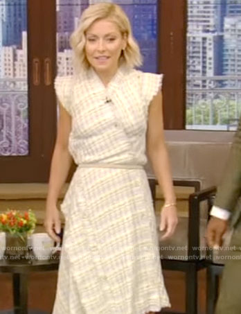 Kelly's plaid tweed dress on Live With Kelly
