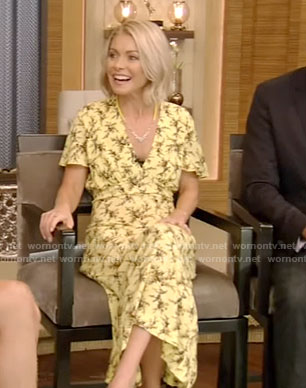 Kelly's yellow print v-neck dress on Live With Kelly