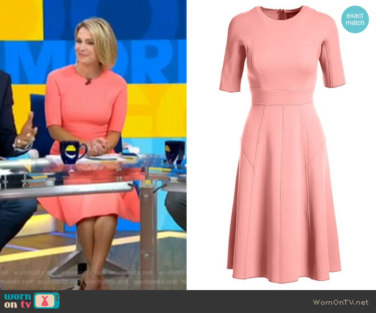 Half-Sleeve Wool Crepe Dress by Lela Rose worn by Amy Robach on Good Morning America