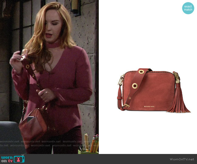 MICHAEL Michael Kors Brooklyn Suede Large Camera Bag worn by Camryn Grimes on The Young & the Restless