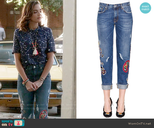 MSGM Denim Jeans with Paisley Patches worn by Cassandra on Famous in Love