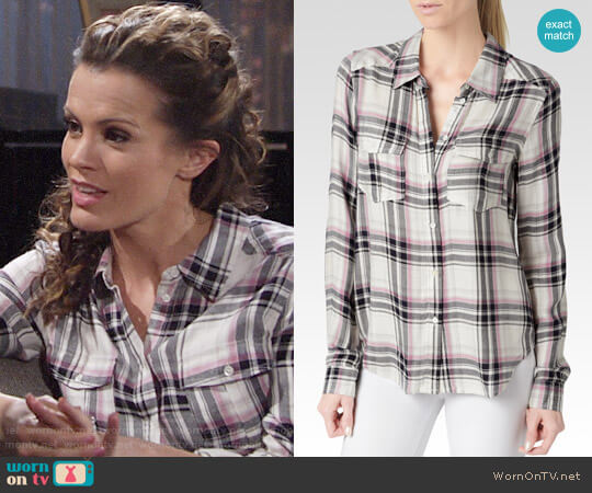 Paige Mya Shirt in Cream / Evening Blue / Orchid worn by Melissa Claire Egan on The Young & the Restless