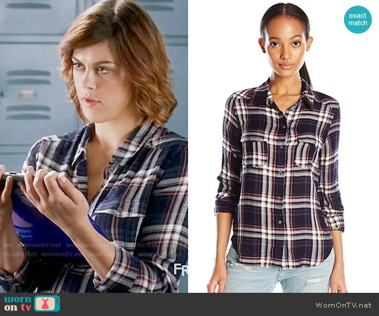 Paige Mya Shirt in Evening Blue / Cream / Ash Rose worn by Paige McCullers (Lindsey Shaw) on PLL