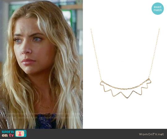 Peggy Li Open Sunburst Necklace worn by Ashley Benson on PLL