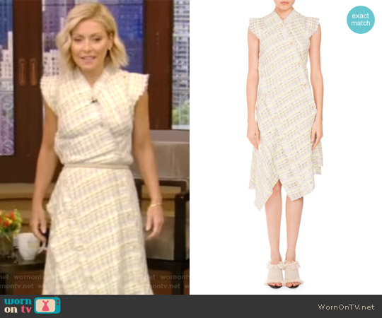 Plaid Boucle Asymmetric Button Dress by Proenza Schouler worn by Kelly Ripa on Live with Kelly & Ryan