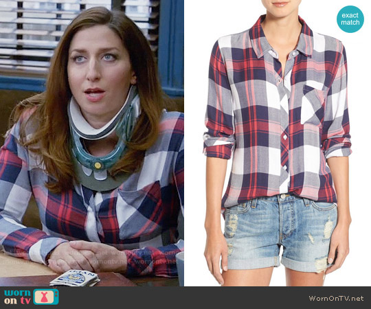 Rails Hunter Shirt in White / Indigo / Blush worn by Gina Linetti (Chelsea Peretti) on Brooklyn Nine-Nine