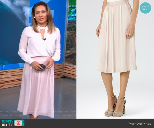 Adalie Pink Linen Plisse Midi Skirt by Reiss worn by Ginger Zee on Good Morning America