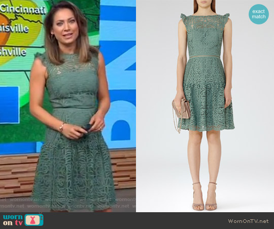 Cap Sleeve Lace Dress by Reiss worn by Ginger Zee on Good Morning America