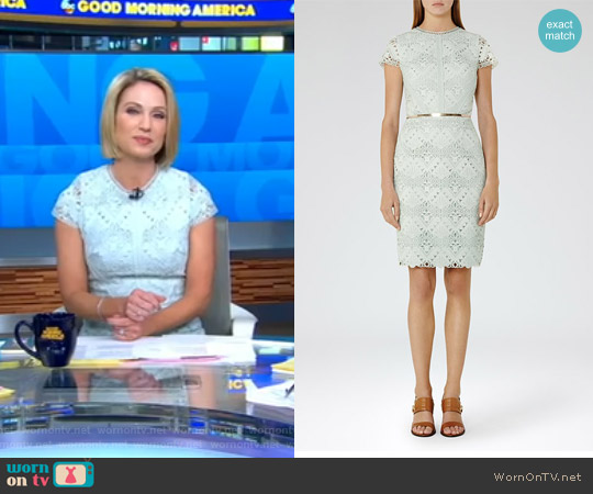 Liza Cap-Sleeve Lace Dress by Reiss worn by Amy Robach on Good Morning America