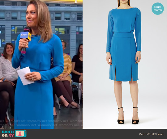 Alessa Sheer-Sleeve Dress by Reiss worn by Ginger Zee (Ginger Zee) on Good Morning America