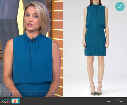 Leonie Tie-Neck Shift Dress by Reiss worn by Amy Robach  on Good Morning America
