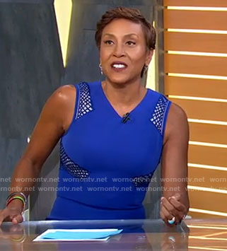 Robin's blue mesh panel dress on Good Morning America