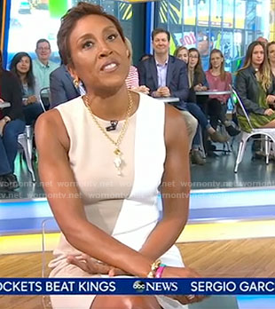 Robin's color-block sleeveless dress on Good Morning America