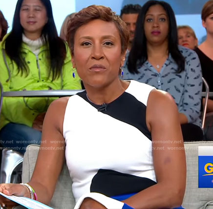 Robin's white colorblock sleeveless dress on Good Morning America