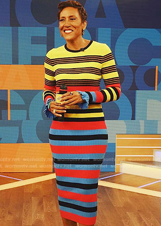 Robin's multi-color striped dress on Good Morning America