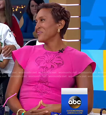 Robin's pink floral lace panel dress on Good Morning America