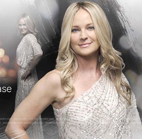 Sharon's one-shoulder gown on The Young and the Restless opening credits