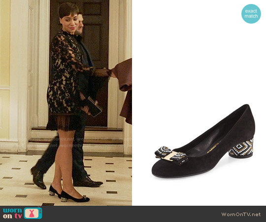 Salvatore Ferragamo Eva Mosaic Suede Mid-Heel Pump worn by Lucca Quinn on The Good Fight