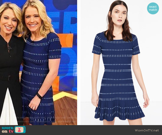 Elasticated Knit Dress by Sandro worn by Sara Haines  on Good Morning America