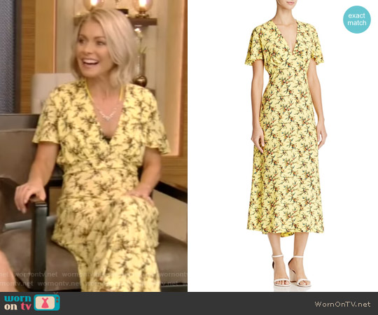 Enis Printed Midi Dress by Sandro worn by Kelly Ripa (Kelly Ripa) on Live with Kelly & Ryan