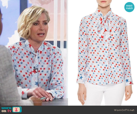 Sandro Space Tie-neck Silk Shirt worn by Portia de Rossi on Scandal