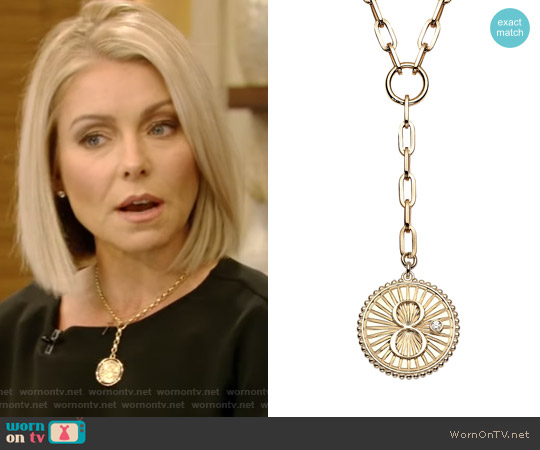 Karma Baby Medallion Clip Chain by Foudrae worn by Kelly Ripa on Live with Kelly & Ryan