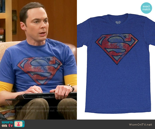Superman Heavily Distressed T-shirt worn by Jim Parsons on The Big Bang Theory