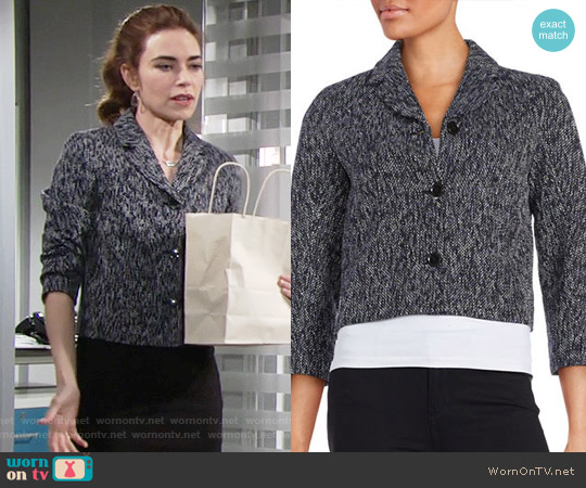 Tommy Hilfiger Three-Button Tweed Jacket worn by Amelia Heinle on The Young & the Restless