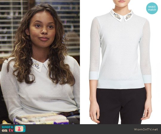 Ted Baker Helane Sweater worn by Jessica Davis (Alisha Boe) on 13 Reasons Why