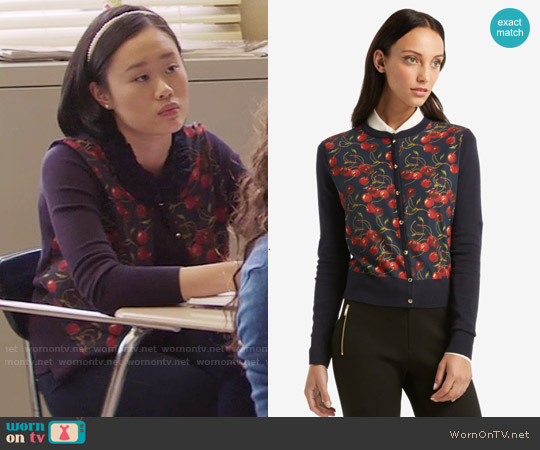 Ted Baker Perl Cheerful Cherry Cardigan worn by Courtney Crimsen (Michele Selene Ang) on 13 Reasons Why