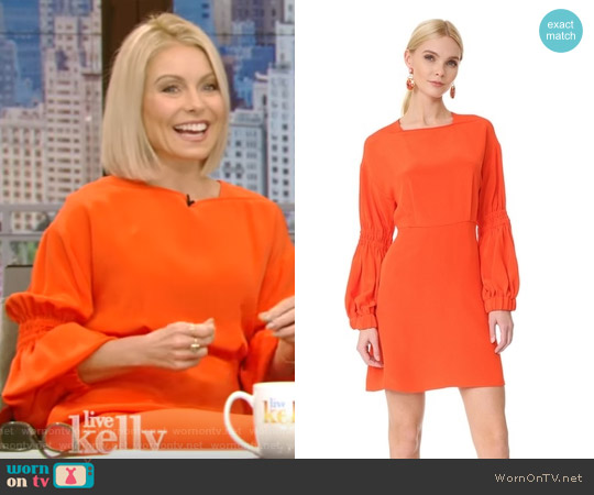 Balloon Sleeve Short Dress by Tibi worn by Kelly Ripa on Live with Kelly & Ryan