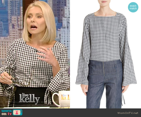 Gingham Convertible Sleeve Top by Tibi worn by Kelly Ripa on Live with Kelly & Ryan
