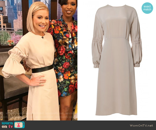 Balloon Sleeve Silk Crepe Dress by Tibi worn by Kelly Ripa  on Live with Kelly & Ryan