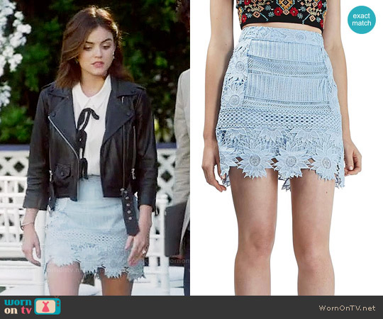 Topshop Cutwork Flower Lace Miniskirt worn by Aria Montgomery on PLL