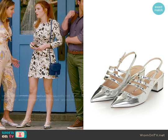 Topshop Java Metallic Sling Back Shoes worn by Paige Townsen on Famous in Love