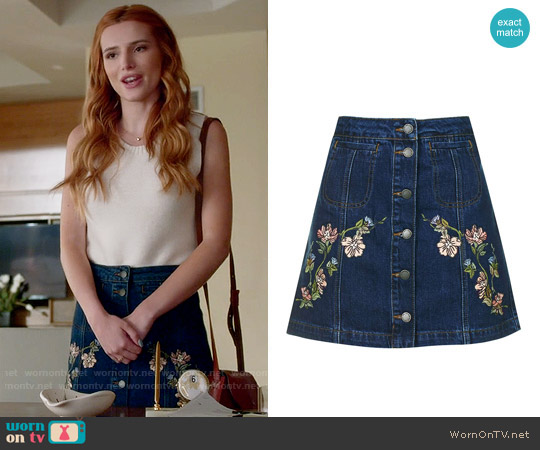 Topshop MOTO Floral Embroidered Skirt worn by Bella Thorne on Famous in Love