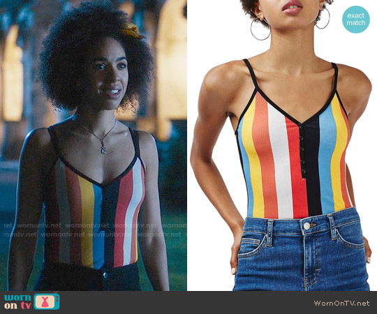 Topshop Vertical Stripe Bodysuit worn by Bill Potts (Pearl Mackie) on Doctor Who