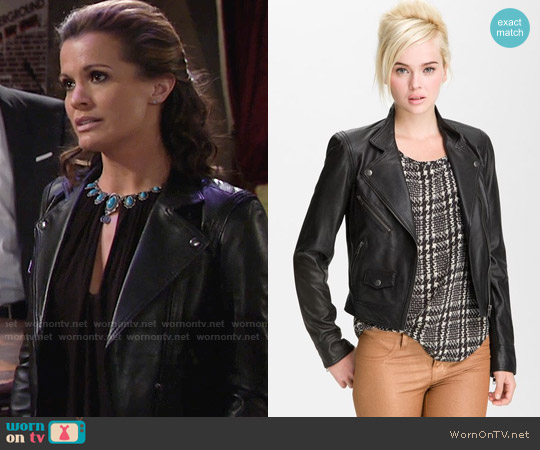 Truth and Pride Perforated Leather Biker Jacket worn by Melissa Claire Egan on The Young & the Restless