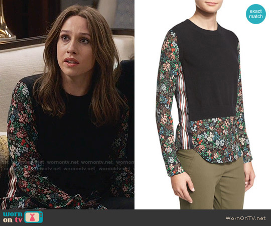 Veronica Beard Mellow Mixed-Media Cashmere Sweater worn by Sarah Sutherland on Veep