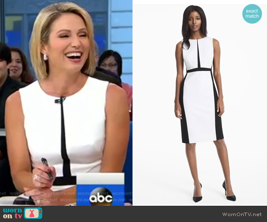 Colorblock Sheath Dress by White House Black Market worn by Amy Robach on Good Morning America