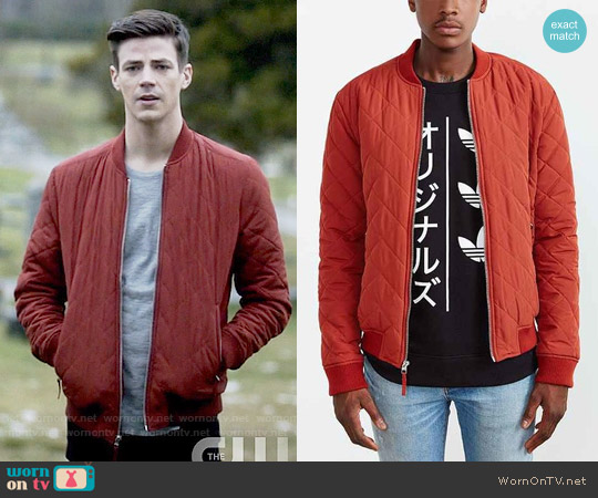 Your Neighbors Devon Quilted Bomber Jacket worn by Grant Gustin on The Flash