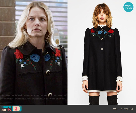 Zara Coat with Embroidered Yoke worn by Emma Swan (Jennifer Morrison) on OUAT