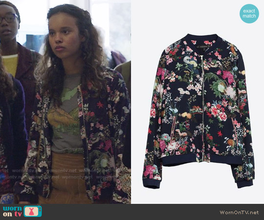 Zara Oriental Print Bomber Jacket worn by Alisha Boe on 13 Reasons Why