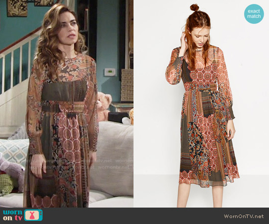 Zara Patchwork Style Print Dress worn by Amelia Heinle on The Young & the Restless