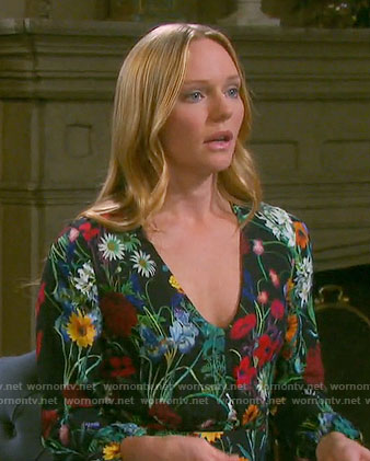 Abby's black floral v-neck dress on Days of our Lives