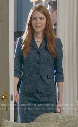 Abby's blue tweed jacket and dress on Scandal