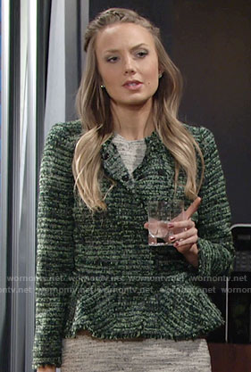 Abby's green tweed peplum jacket on The Young and the Restless