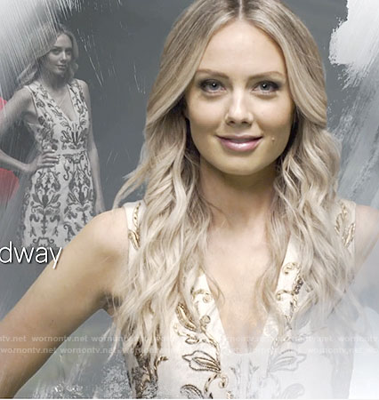 Abby's white dress with gold beading on The Young and the Restless opening credits